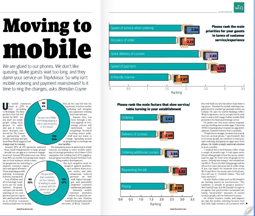 Mobile ordering survey from The Caterer highlights wi-Q as a leading hospitality solution