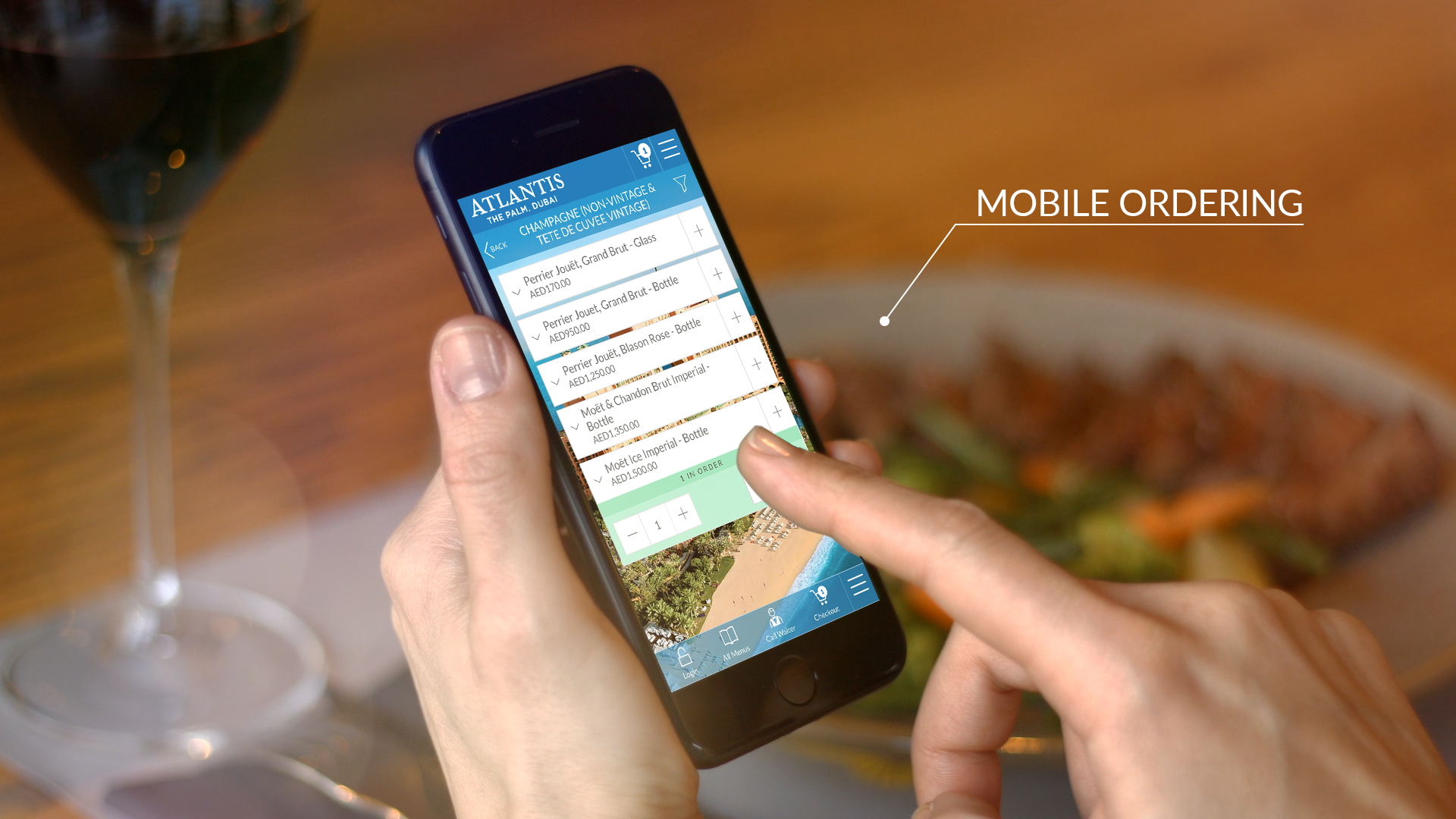 Atlantis Hotel web based Mobile Ordering